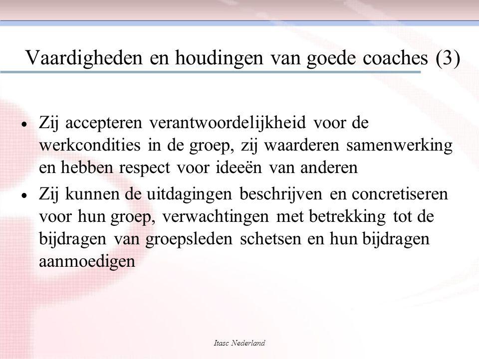 Itasc Nederland Vaardigheden en houdingen van goede coaches (3)  Zij accepteren verantwoordelijkheid voor de werkcondities in de groep, zij waarderen