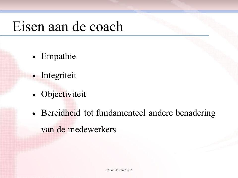Itasc Nederland Eisen aan de coach  Empathie  Integriteit  Objectiviteit  Bereidheid tot fundamenteel andere benadering van de medewerkers