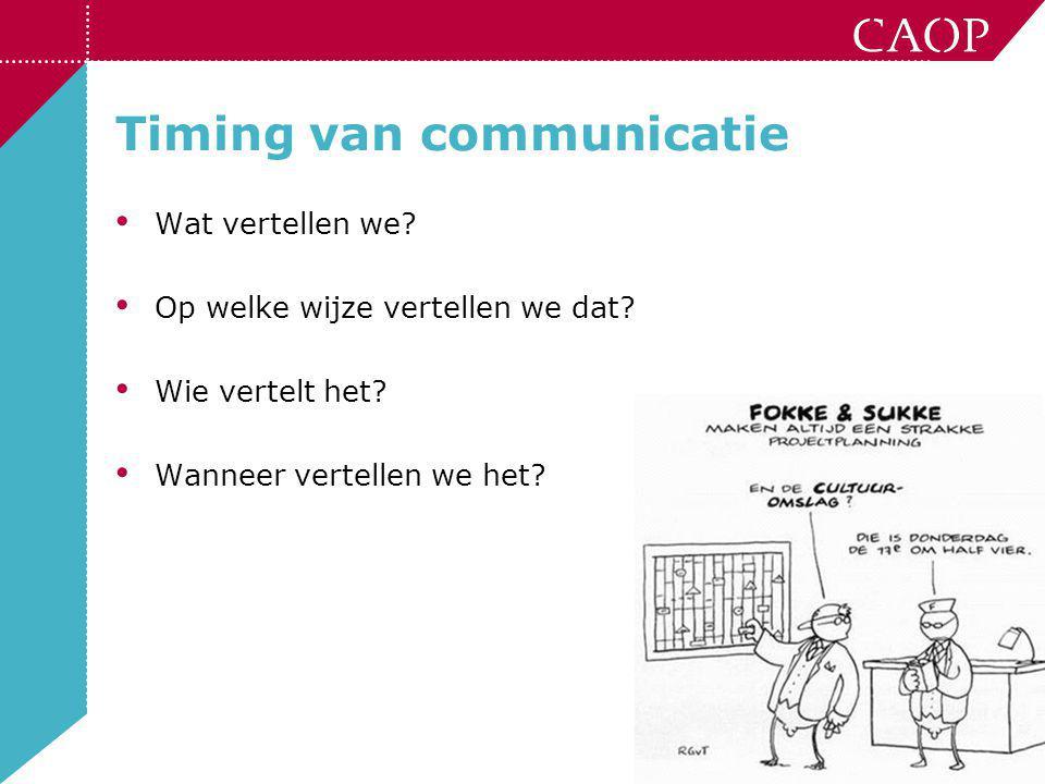 12 Timing van communicatie • Wat vertellen we? • Op welke wijze vertellen we dat? • Wie vertelt het? • Wanneer vertellen we het?