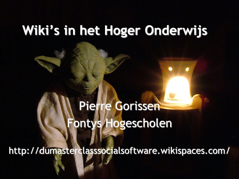 Workshop •Wiki vooraf / tijdens / achteraf •Input van jullie.
