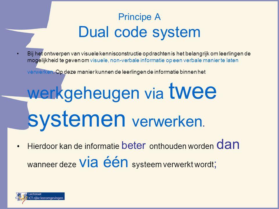 Principe A Dual code system •Bij het ontwerpen van visuele kennisconstructie opdrachten is het belangrijk om leerlingen de mogelijkheid te geven om visuele, non-verbale informatie op een verbale manier te laten verwerken.