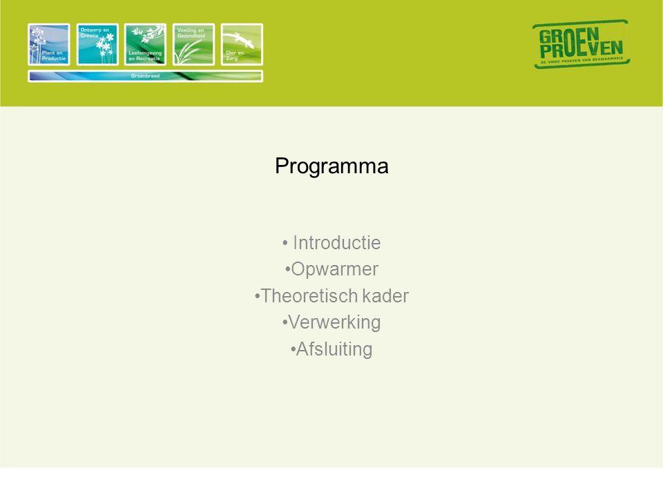 Programma • Introductie •Opwarmer •Theoretisch kader •Verwerking •Afsluiting