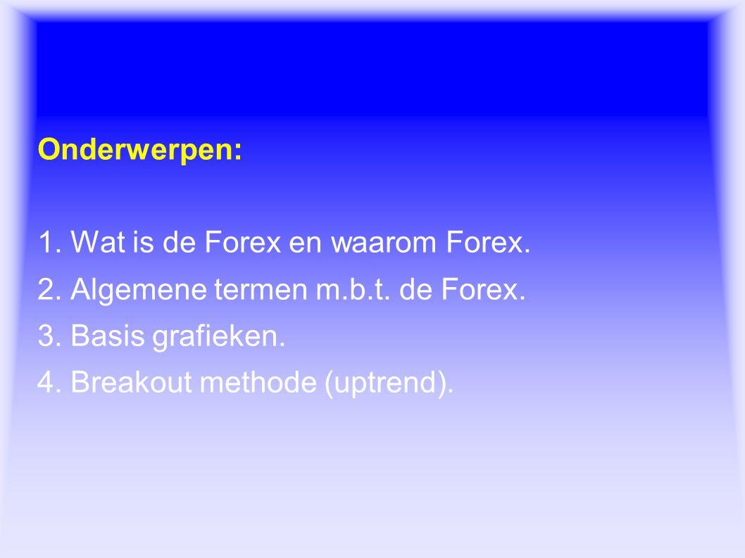 Forex Onderwerpen: 1. Wat is de Forex en waarom Forex. 2. Algemene termen m.b.t. de Forex. 3. Basis grafieken. 4. Breakout methode (uptrend).