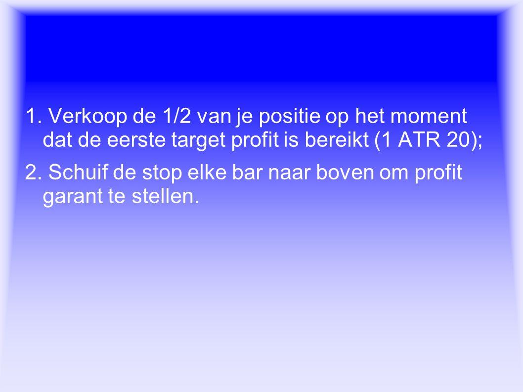 Exit regels 1. Verkoop de 1/2 van je positie op het moment dat de eerste target profit is bereikt (1 ATR 20); 2. Schuif de stop elke bar naar boven om