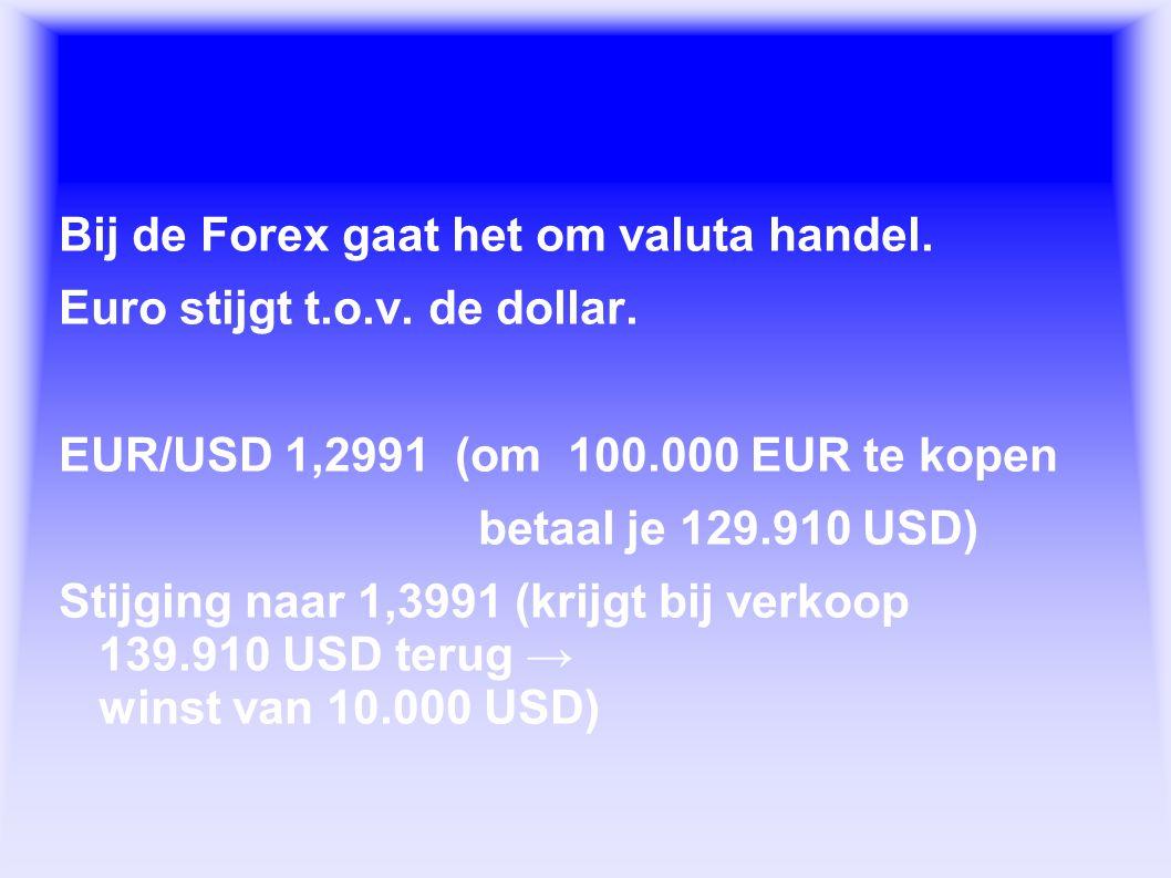 Wat is de Forex. Bij de Forex gaat het om valuta handel. Euro stijgt t.o.v. de dollar. EUR/USD 1,2991 (om 100.000 EUR te kopen betaal je 129.910 USD)