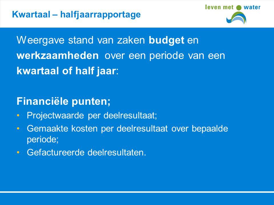 Kwartaal – halfjaarrapportage Weergave stand van zaken budget en werkzaamheden over een periode van een kwartaal of half jaar: Financiële punten; •Pro