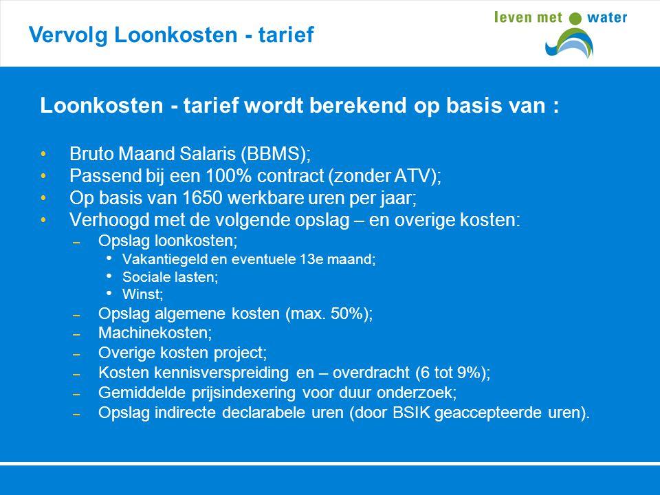 Vervolg Loonkosten - tarief Loonkosten - tarief wordt berekend op basis van : • Bruto Maand Salaris (BBMS); • Passend bij een 100% contract (zonder AT