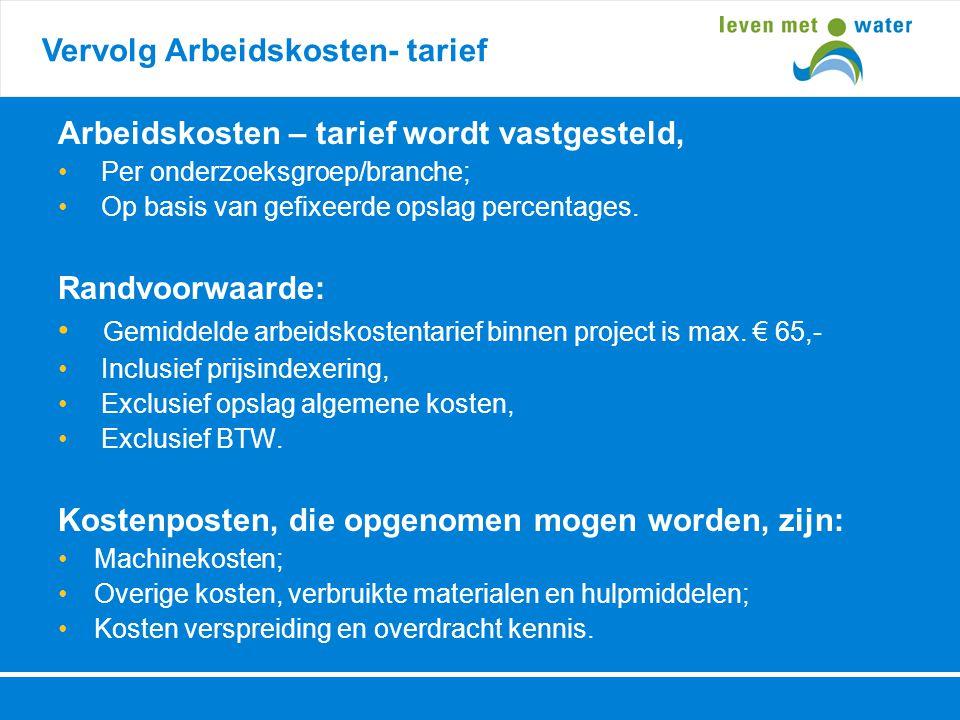 Vervolg Arbeidskosten- tarief Arbeidskosten – tarief wordt vastgesteld, • Per onderzoeksgroep/branche; • Op basis van gefixeerde opslag percentages. R