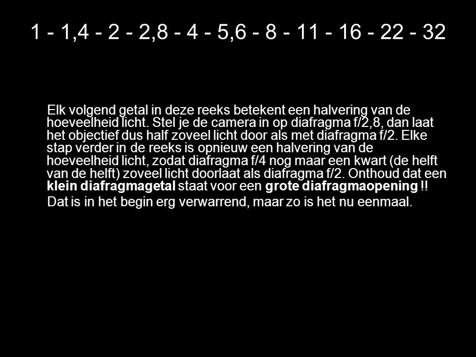 1 - 1,4 - 2 - 2,8 - 4 - 5,6 - 8 - 11 - 16 - 22 - 32 Elk volgend getal in deze reeks betekent een halvering van de hoeveelheid licht.