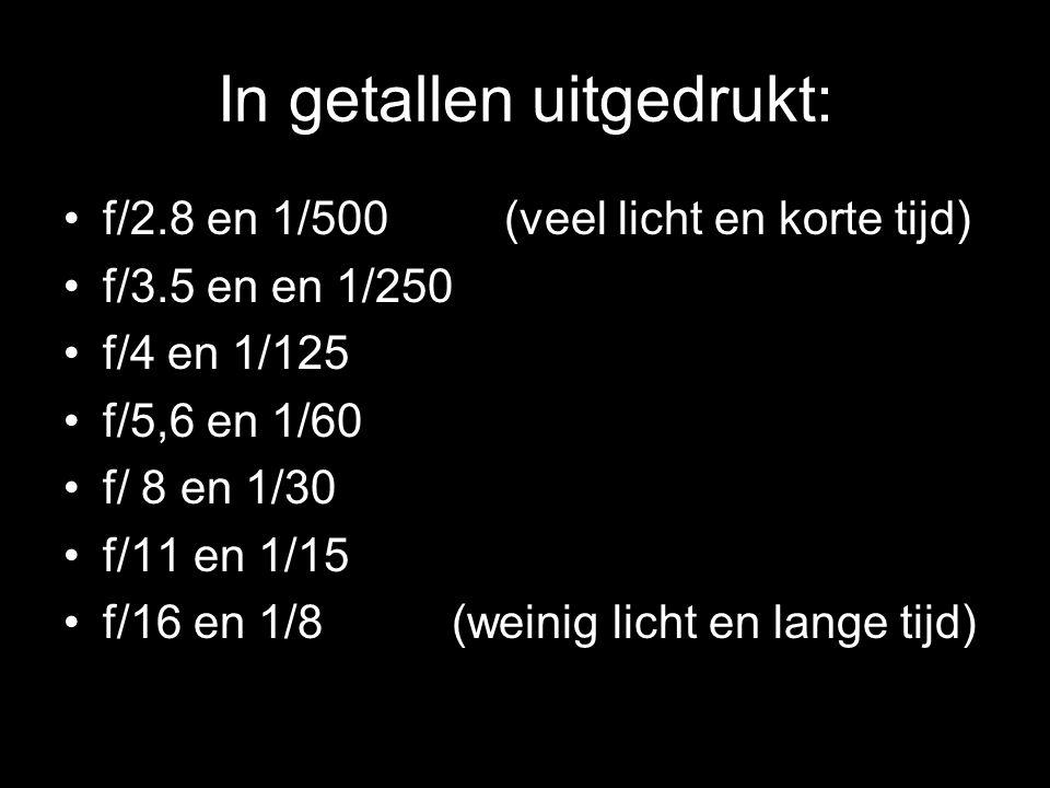 In getallen uitgedrukt: •f/2.8 en 1/500 (veel licht en korte tijd) •f/3.5 en en 1/250 •f/4 en 1/125 •f/5,6 en 1/60 •f/ 8 en 1/30 •f/11 en 1/15 •f/16 en 1/8 (weinig licht en lange tijd)