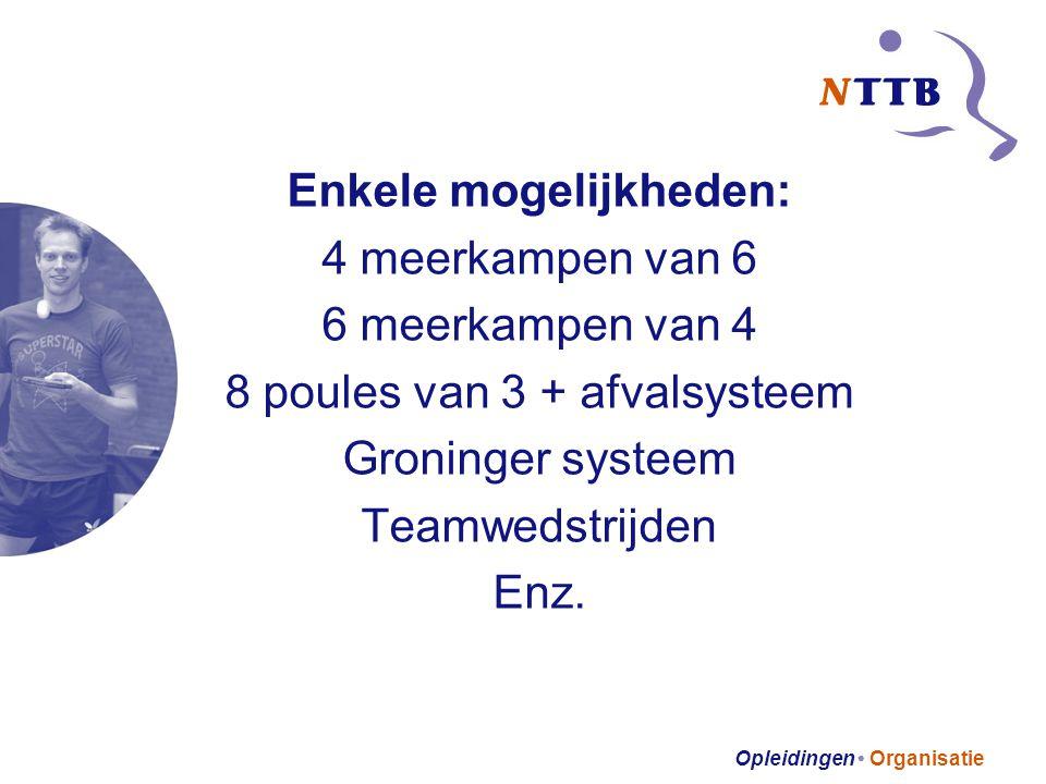 Opleidingen • Organisatie Enkele mogelijkheden: 4 meerkampen van 6 6 meerkampen van 4 8 poules van 3 + afvalsysteem Groninger systeem Teamwedstrijden Enz.