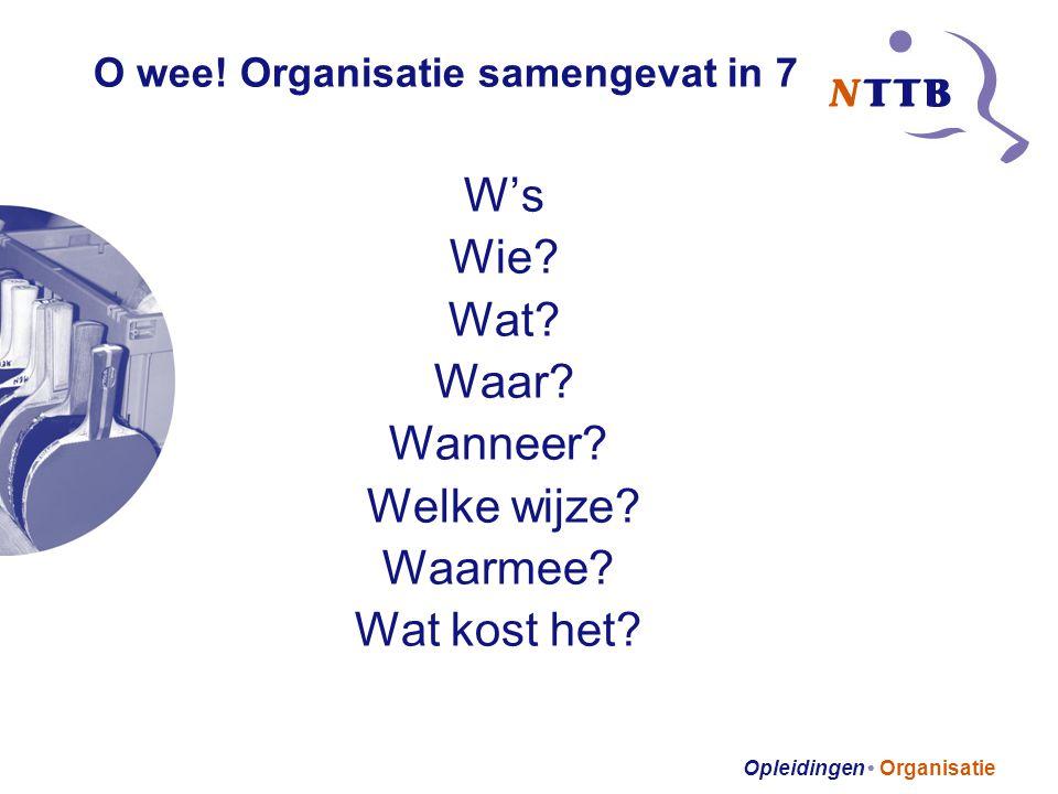 Opleidingen • Organisatie O wee.Organisatie samengevat in 7 W's Wie.