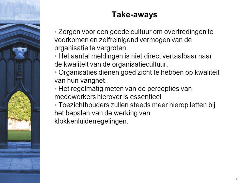 17 Take-aways • Zorgen voor een goede cultuur om overtredingen te voorkomen en zelfreinigend vermogen van de organisatie te vergroten.