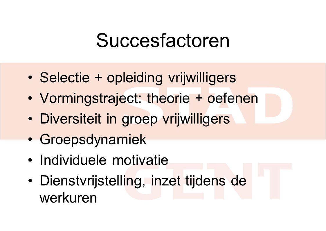 Succesfactoren •Selectie + opleiding vrijwilligers •Vormingstraject: theorie + oefenen •Diversiteit in groep vrijwilligers •Groepsdynamiek •Individuele motivatie •Dienstvrijstelling, inzet tijdens de werkuren