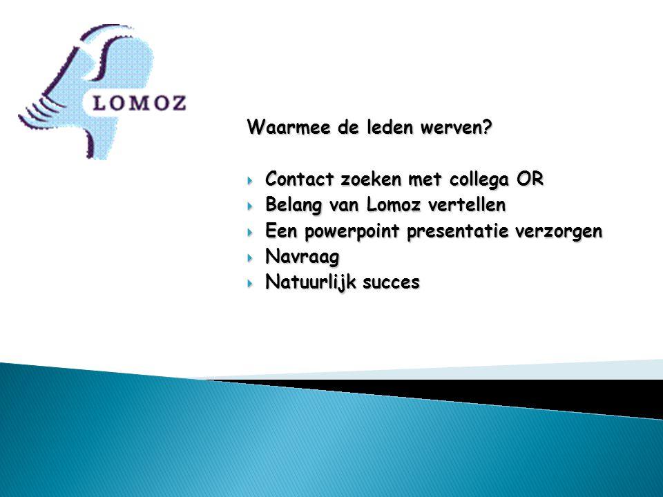 Waarmee de leden werven?  Contact zoeken met collega OR  Belang van Lomoz vertellen  Een powerpoint presentatie verzorgen  Navraag  Natuurlijk su