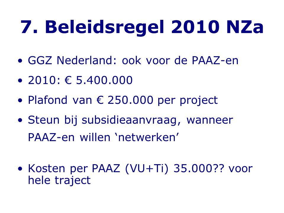7. Beleidsregel 2010 NZa •GGZ Nederland: ook voor de PAAZ-en •2010: € 5.400.000 •Plafond van € 250.000 per project •Steun bij subsidieaanvraag, wannee