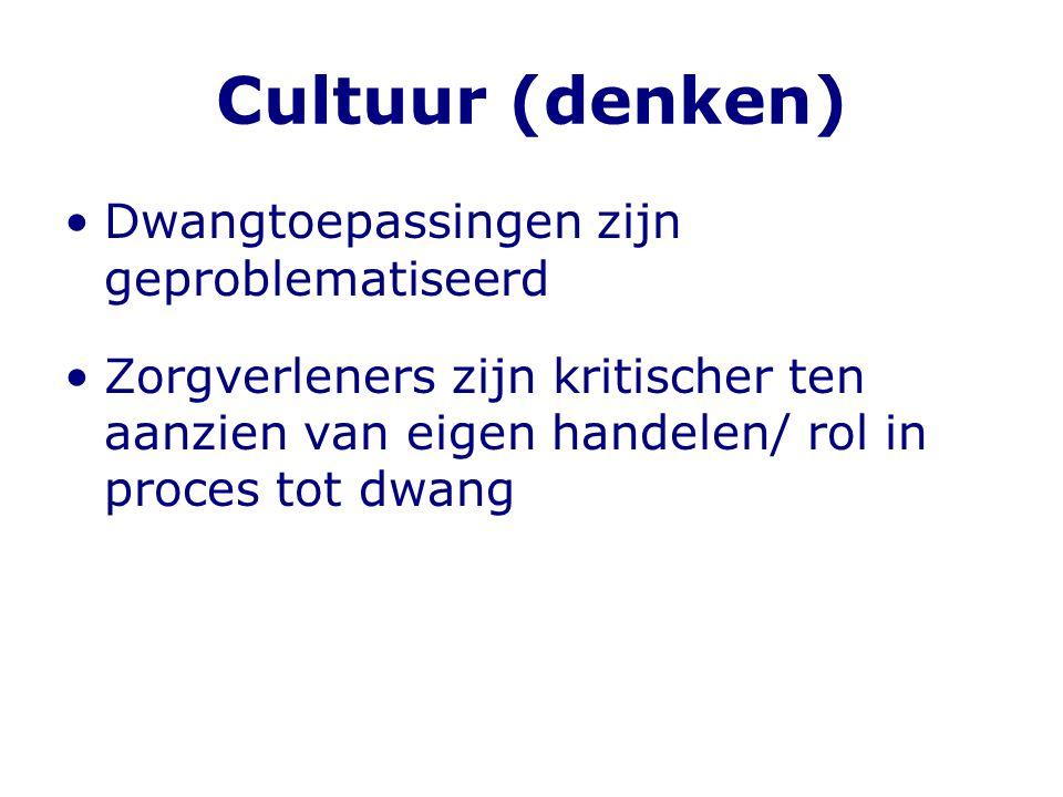 Cultuur (denken) •Dwangtoepassingen zijn geproblematiseerd •Zorgverleners zijn kritischer ten aanzien van eigen handelen/ rol in proces tot dwang