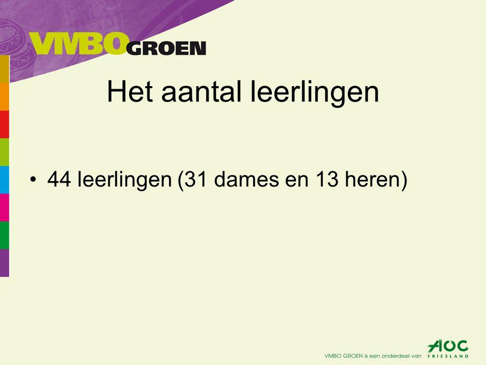 Het aantal leerlingen •44 leerlingen (31 dames en 13 heren)