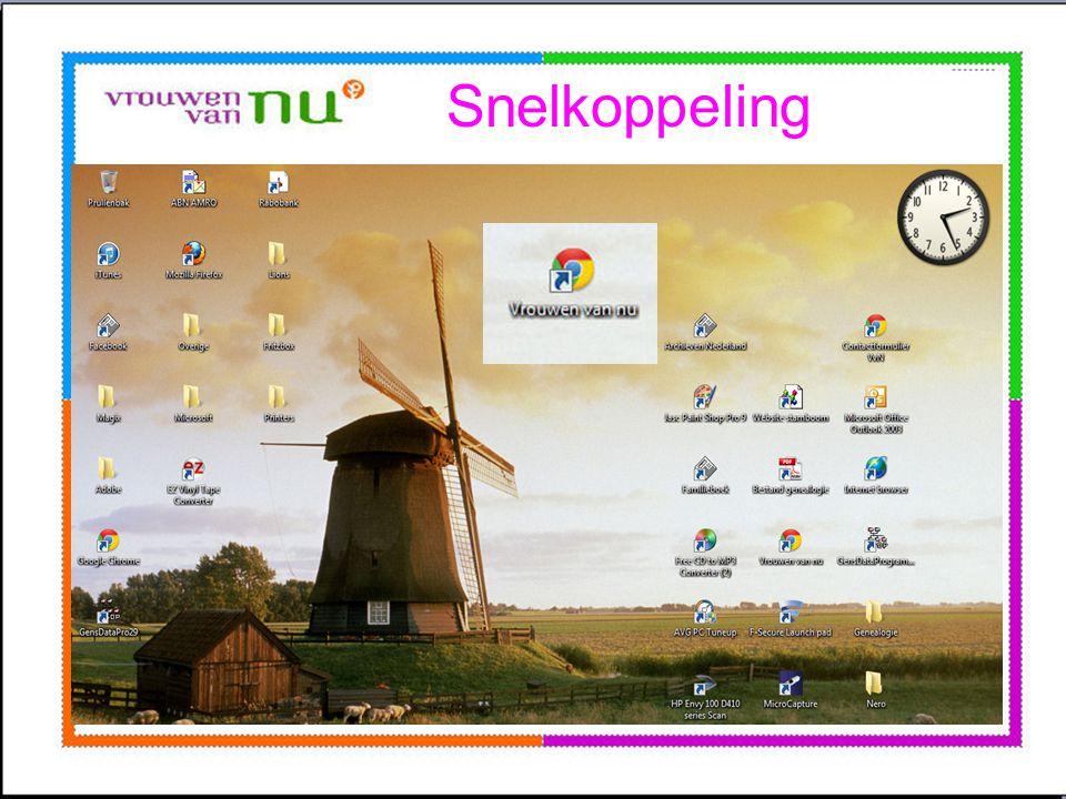 Snelkoppeling •Openingsscherm computer •Wordt bureaublad genoemd. •Op dit bureaublad kunt u een snelkoppeling maken Plaats u cursor op een lege plek o