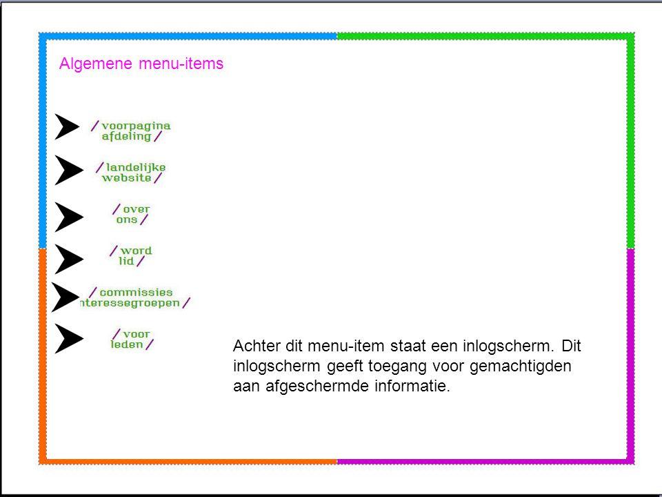 De website is te verdelen in drie delen: 1.Algemene menu-items 2.Afdeling menu-items 3.Fotoalbum en agenda/activiteiten Door een item aan te klikken,