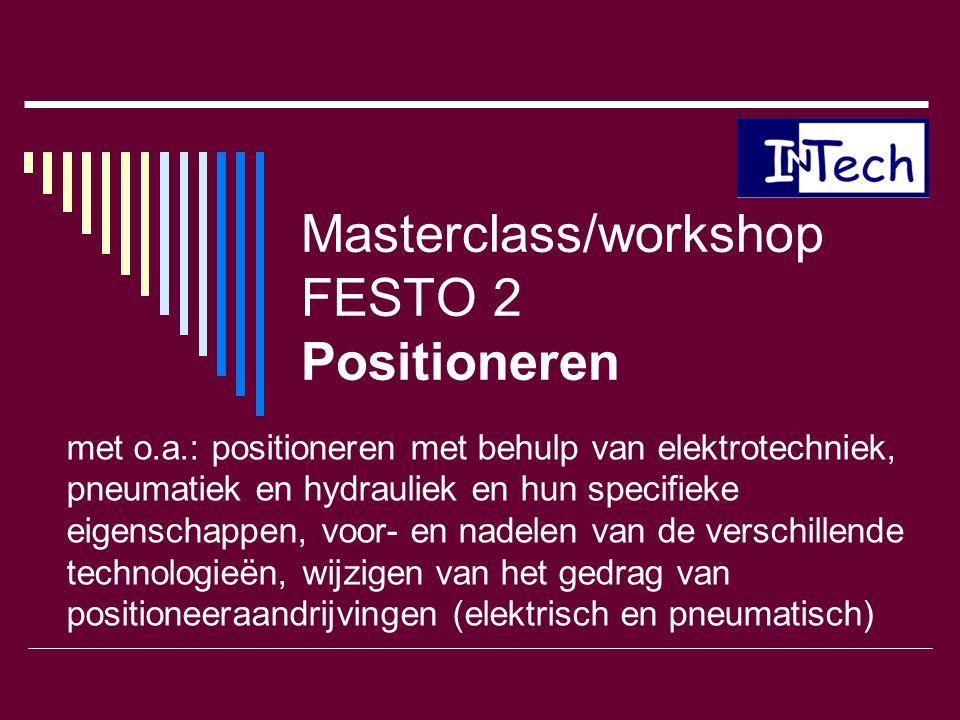 Masterclass/workshop FESTO 2 Positioneren met o.a.: positioneren met behulp van elektrotechniek, pneumatiek en hydrauliek en hun specifieke eigenschap