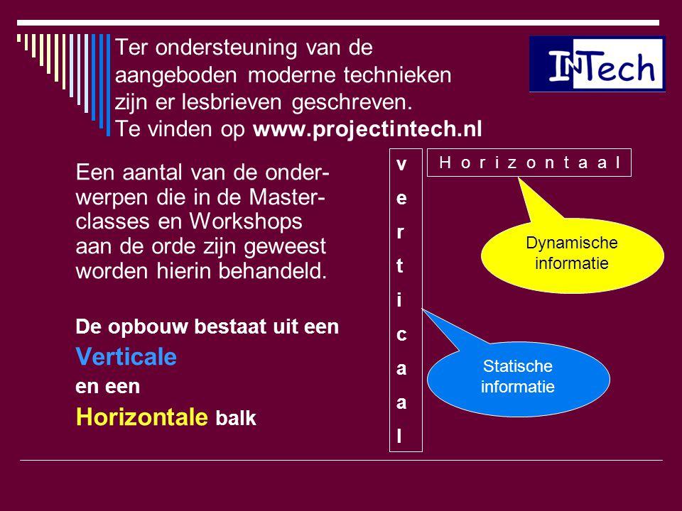 Ter ondersteuning van de aangeboden moderne technieken zijn er lesbrieven geschreven. Te vinden op www.projectintech.nl Een aantal van de onder- werpe