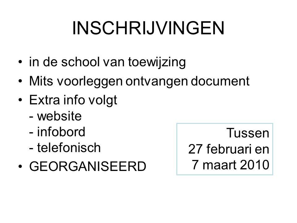 INSCHRIJVINGEN •in de school van toewijzing •Mits voorleggen ontvangen document •Extra info volgt - website - infobord - telefonisch •GEORGANISEERD Tussen 27 februari en 7 maart 2010