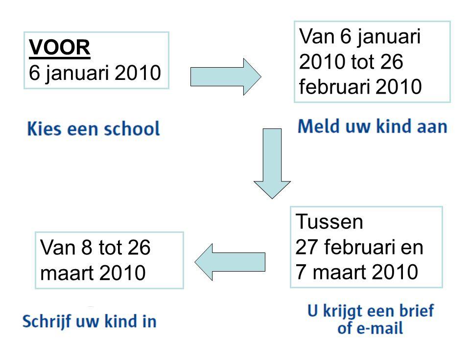 VOOR 6 januari 2010 Van 6 januari 2010 tot 26 februari 2010 Tussen 27 februari en 7 maart 2010 Van 8 tot 26 maart 2010