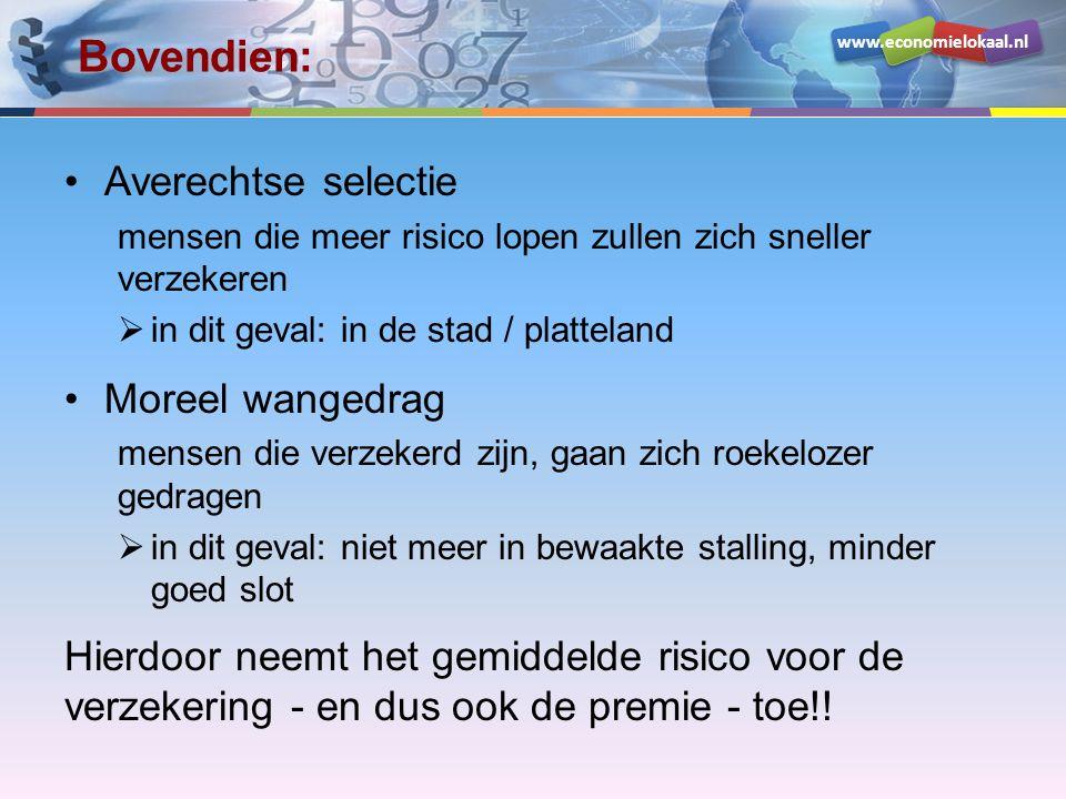 www.economielokaal.nl Bovendien: •Averechtse selectie mensen die meer risico lopen zullen zich sneller verzekeren  in dit geval: in de stad / plattel