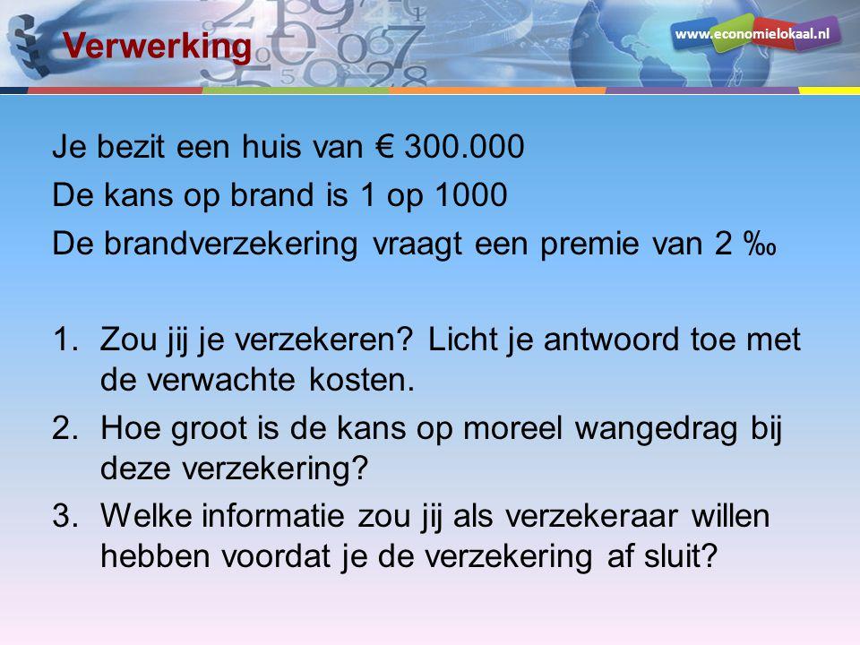 www.economielokaal.nl Verwerking Je bezit een huis van € 300.000 De kans op brand is 1 op 1000 De brandverzekering vraagt een premie van 2 ‰ 1.Zou jij