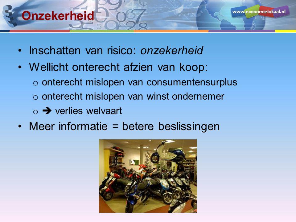 www.economielokaal.nl Risico: een verwachte schade •Je hebt een scooter van € 1.000,- •De kans dat hij gestolen wordt is 5% (1 op 20) Verwachte schade: (19 x € 0,- + 1 x € 1000,-) / 20 = € 50,- ofwel: Verwachte schade = kans x schade 5% van € 1000,- = € 50,-