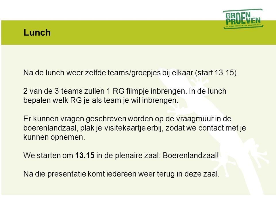Lunch Na de lunch weer zelfde teams/groepjes bij elkaar (start 13.15). 2 van de 3 teams zullen 1 RG filmpje inbrengen. In de lunch bepalen welk RG je
