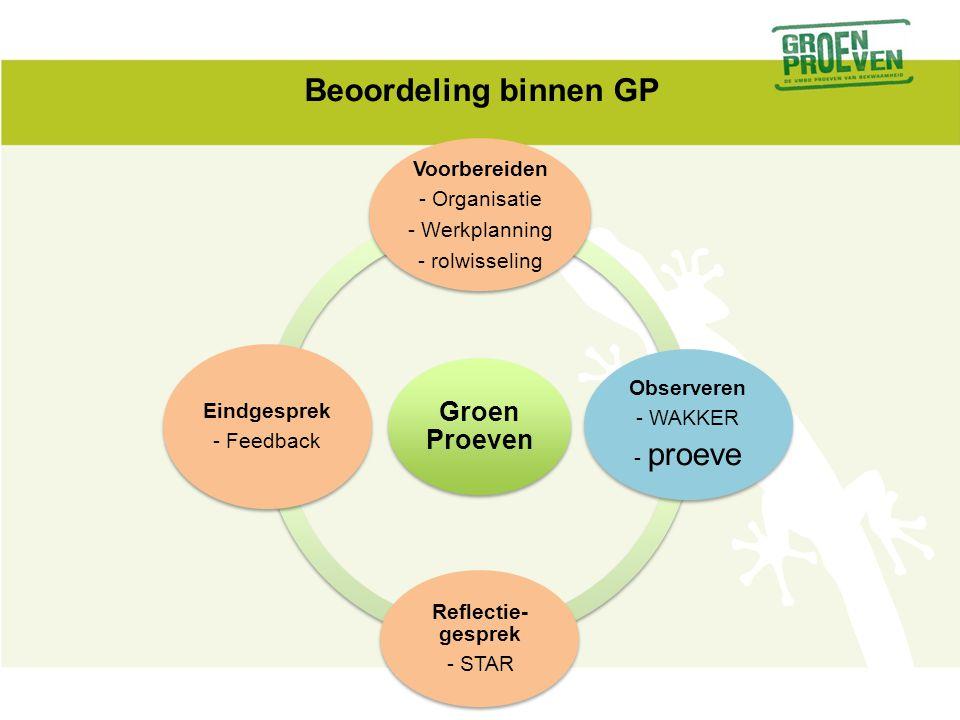 Beoordeling binnen GP Groen Proeven Voorbereiden - Organisatie - Werkplanning - rolwisseling Observeren - WAKKER - proeve Reflectie- gesprek - STAR Eindgesprek - Feedback