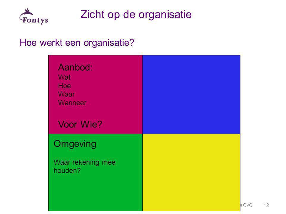 Hoe werkt een organisatie? Fontys CvO12 Zicht op de organisatie Aanbod: Wat Hoe Waar Wanneer Voor Wie? Omgeving Waar rekening mee houden?