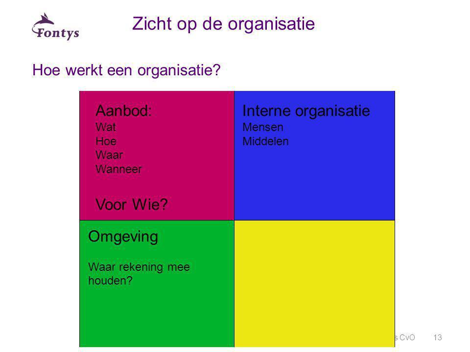 Hoe werkt een organisatie? Fontys CvO13 Zicht op de organisatie Aanbod: Wat Hoe Waar Wanneer Voor Wie? Interne organisatie Mensen Middelen Omgeving Wa