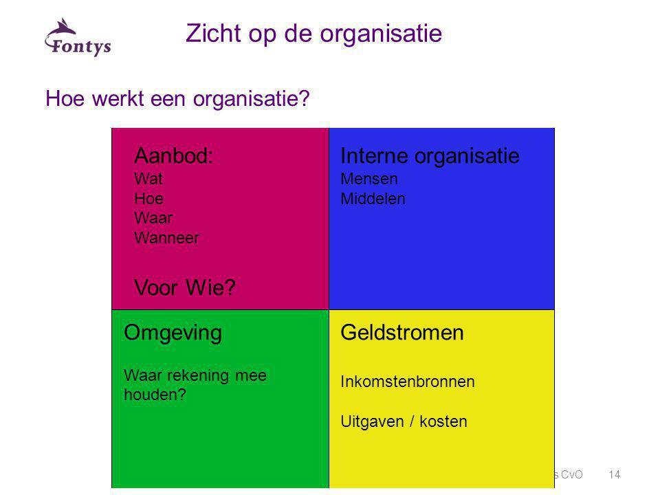 Hoe werkt een organisatie? Fontys CvO14 Zicht op de organisatie Aanbod: Wat Hoe Waar Wanneer Voor Wie? Interne organisatie Mensen Middelen Omgeving Wa