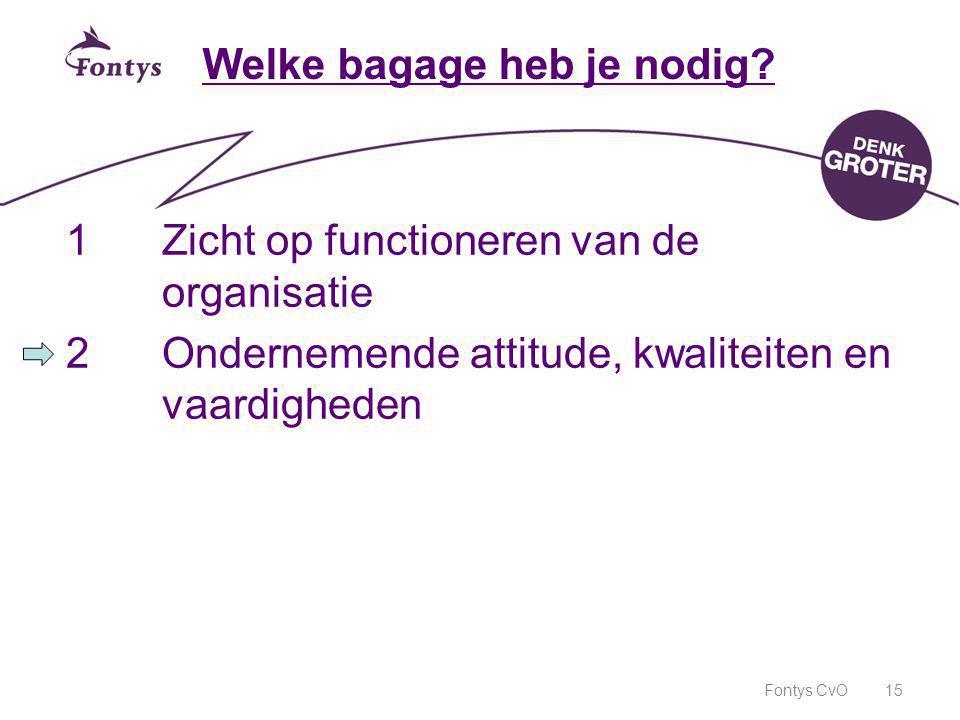 Fontys CvO15 Welke bagage heb je nodig? 1Zicht op functioneren van de organisatie 2Ondernemende attitude, kwaliteiten en vaardigheden