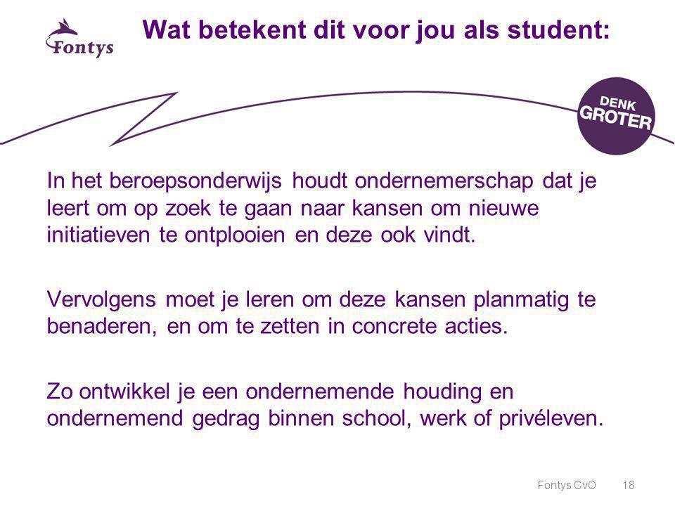 Fontys CvO18 Wat betekent dit voor jou als student: In het beroepsonderwijs houdt ondernemerschap dat je leert om op zoek te gaan naar kansen om nieuw