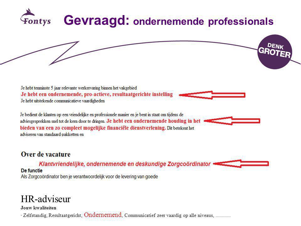 Fontys CvO19 Gevraagd: ondernemende professionals HR-adviseur Jouw kwaliteiten · Zelfstandig, Resultaatgericht, Ondernemend, Communicatief zeer vaardi