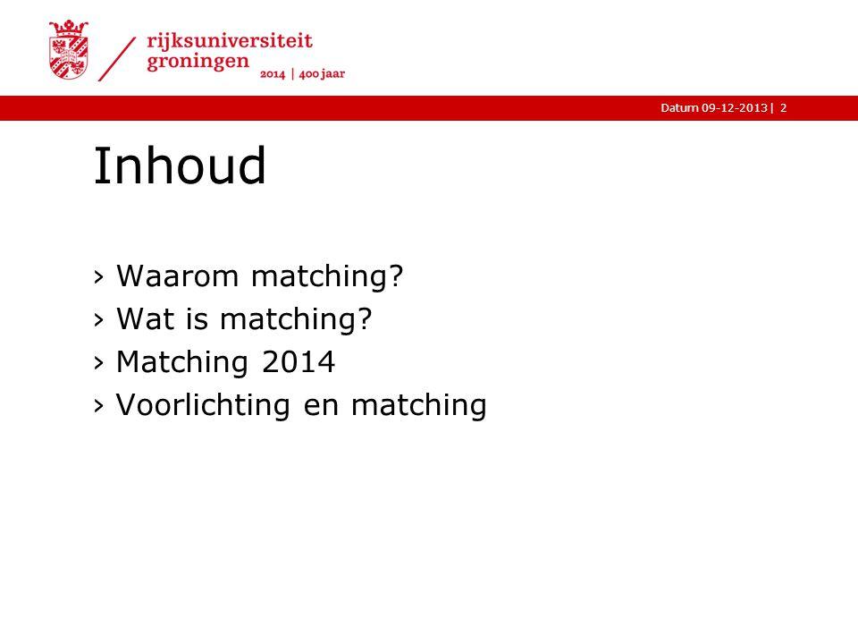 |Datum 09-12-2013 Inhoud 2 ›Waarom matching? ›Wat is matching? ›Matching 2014 ›Voorlichting en matching