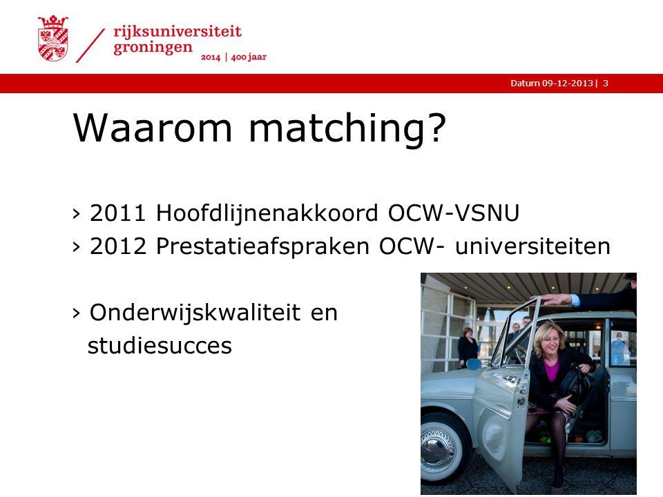 |Datum 09-12-2013 Waarom matching? ›2011 Hoofdlijnenakkoord OCW-VSNU ›2012 Prestatieafspraken OCW- universiteiten ›Onderwijskwaliteit en studiesucces