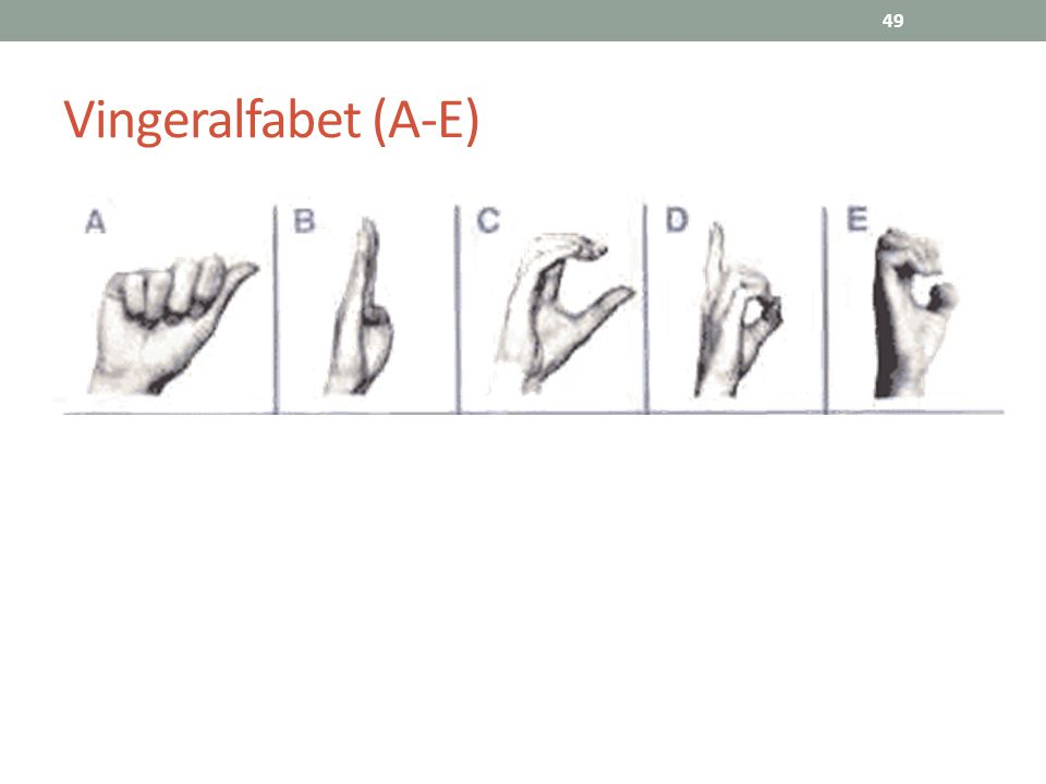 49 Vingeralfabet (A-E)