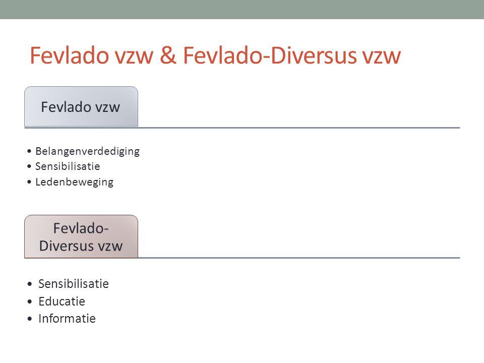Fevlado vzw & Fevlado-Diversus vzw Fevlado vzw •Belangenverdediging •Sensibilisatie •Ledenbeweging Fevlado- Diversus vzw •Sensibilisatie •Educatie •In