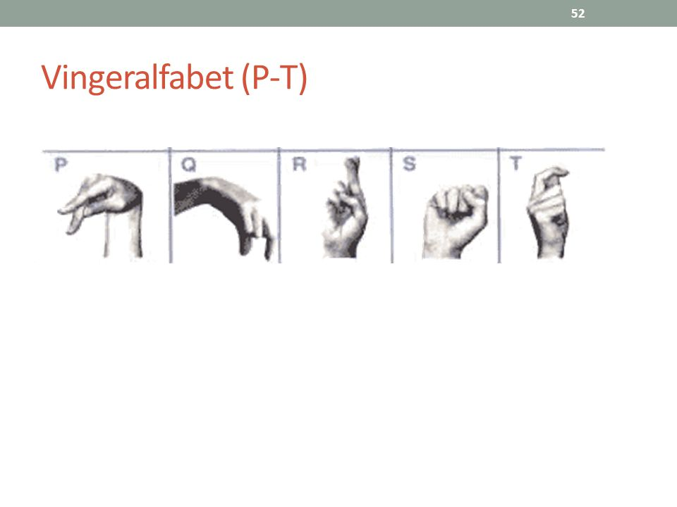 52 Vingeralfabet (P-T)