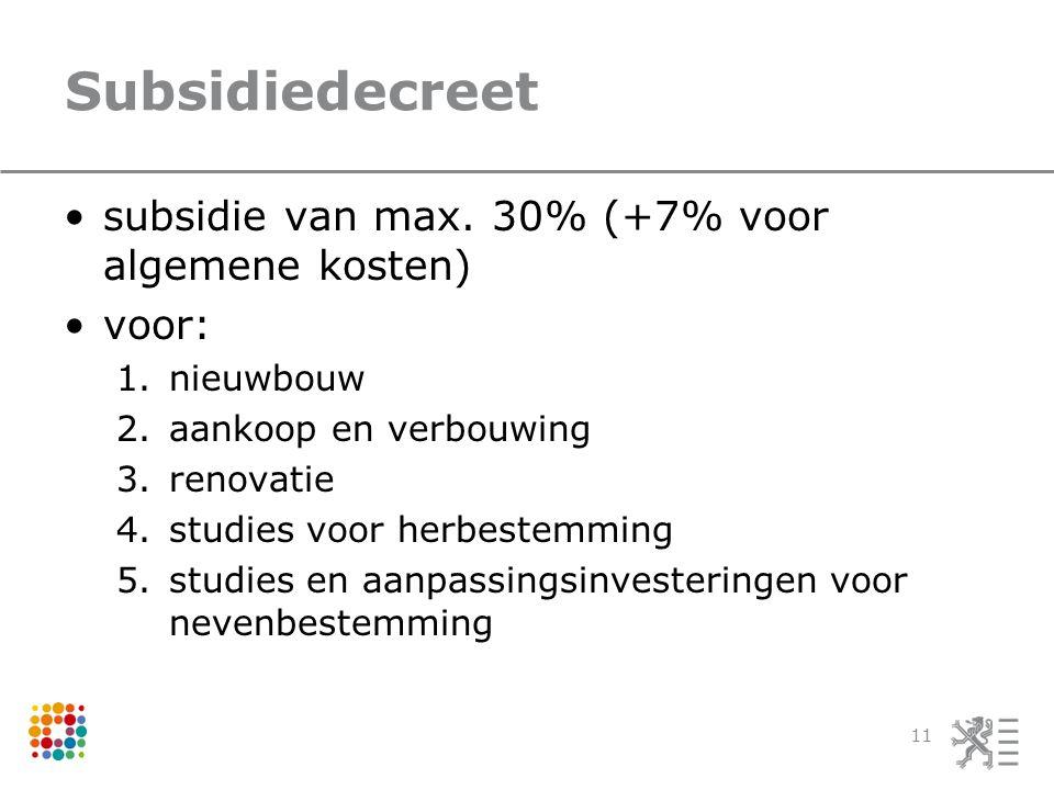 Subsidiedecreet •subsidie van max. 30% (+7% voor algemene kosten) •voor: 1.nieuwbouw 2.aankoop en verbouwing 3.renovatie 4.studies voor herbestemming