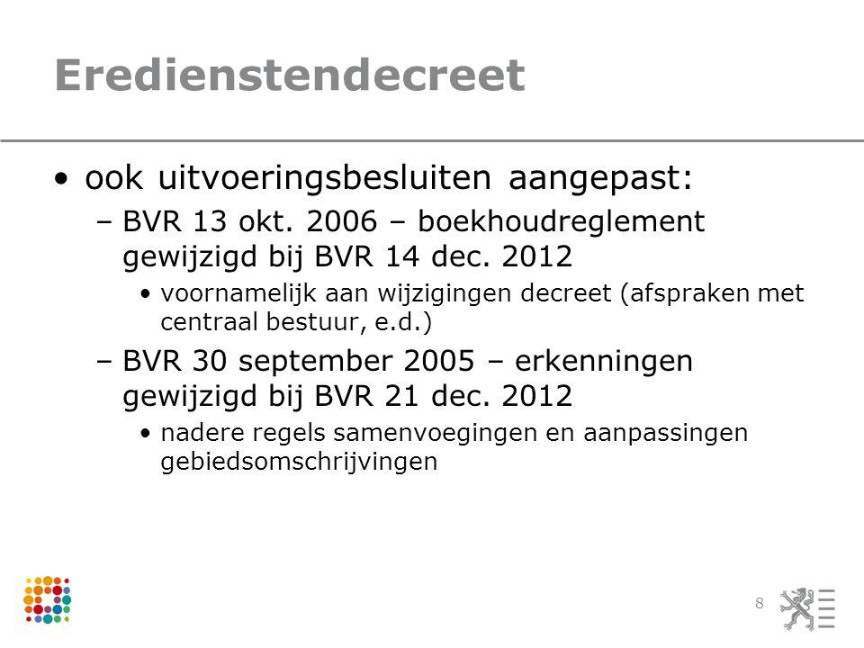 Eredienstendecreet •ook uitvoeringsbesluiten aangepast: –BVR 13 okt. 2006 – boekhoudreglement gewijzigd bij BVR 14 dec. 2012 •voornamelijk aan wijzigi