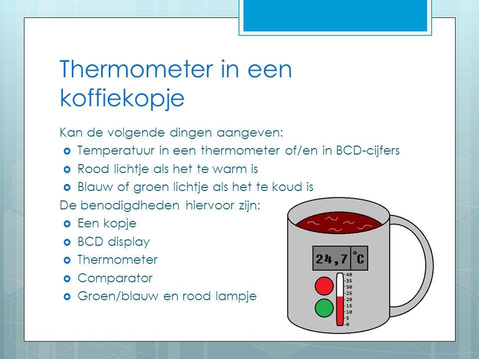 Thermometer in een koffiekopje Kan de volgende dingen aangeven:  Temperatuur in een thermometer of/en in BCD-cijfers  Rood lichtje als het te warm i
