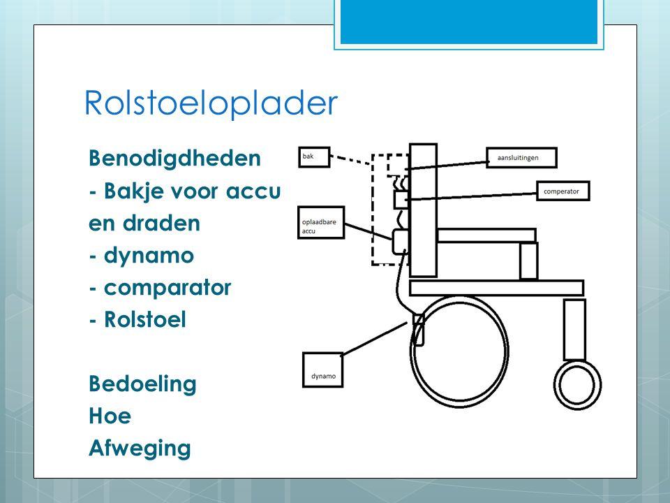 Rolstoeloplader Benodigdheden - Bakje voor accu en draden - dynamo - comparator - Rolstoel Bedoeling Hoe Afweging