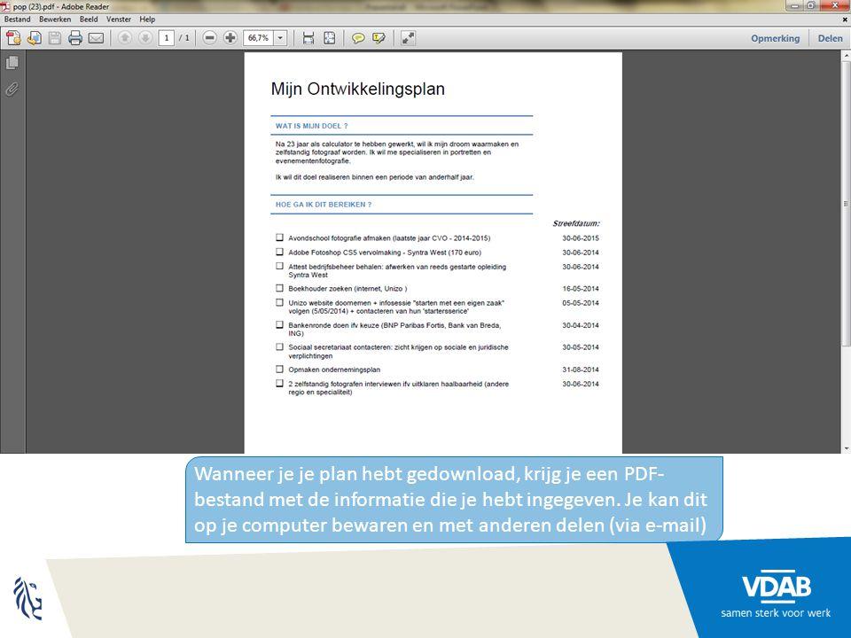 Wanneer je je plan hebt gedownload, krijg je een PDF- bestand met de informatie die je hebt ingegeven.