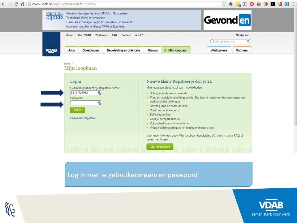Log in met je gebruikersnaam en paswoord